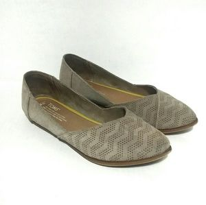 TOMS Jutti Suede Taupe Slip On Flat Shoes